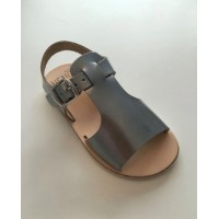 400-V Silver Metallic Leather Open Toe T-Bar Sandal